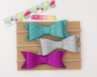 Glitter Felt Bow - Listing for 1 bow - Glitter Felt - Headband - Bow Clip