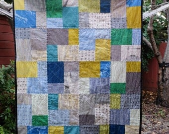 Modern Large Blue and Green Baby Quilt