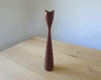Mid century modern 60s turned teak wood candle holder