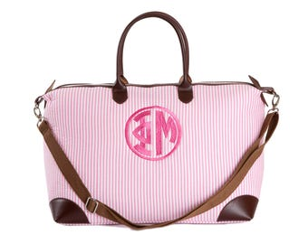 PM    Phi Mu Sorority Embroidered/Monogrammed Pink Seersucker Satchel.