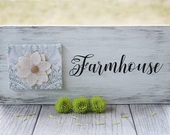 Farmhouse Sign - Rustic Sign - Distressed Sign - Fabric and Wood Sign