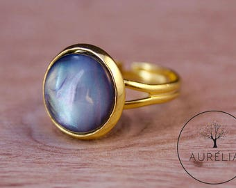 """Gold-plated ring """"Moon stone"""""""