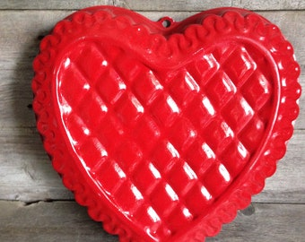 Large red aluminum heart shaped cake pan/mold