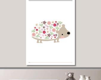 Floral Hedgehog Nursery Print // Minimalist Poster // Wall Art Poster // Nursery Poster // Floral Poster // Minimal Poster