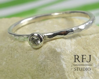 Natural White Topaz Hammered Silver Ring, 2 mm Round Cut Mined White Topaz Medium Texture Ring, April Birthstone Sterling Silver Topaz Ring