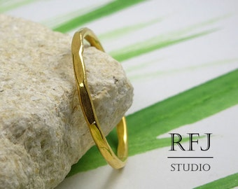 Stacking Gold Plated Faceted Ring, Gold Ring with large Texture, 24K Yellow Gold  Textured Ring, Stackable Gold Ring Yellow Gold Stacker