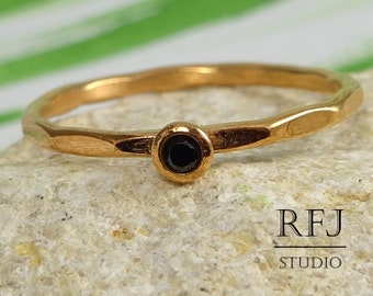 Faceted Lab Black Diamond Rose Gold Ring, April Birthstone 14K Rose Gold Plated 2 mm Cubic Zirconia Stacking Ring Rose Gold Black CZ Stacker