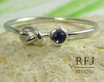 Natural Iolite Sterling Knot Ring, Genuine Iolite Tie The Knot Ring, 2 mm Round Cut Iolite Ring Blue Iolite Friendship Ring, Love Knot Ring