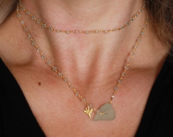 crystal seaglass shark tooth double necklace - sea glass necklace with shark tooth - gold shark tooth necklace - 14k gold necklace