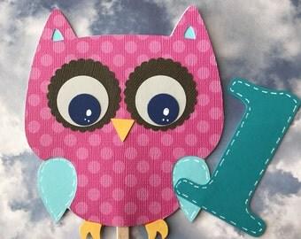 Owl cake topper, 1st birthday cake topper, owl Centerpiece.