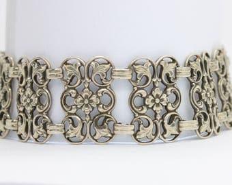 Antique silver flower bracelet/835 Silver Bracelet/biedermeier bracelet/Victorian bracelet/Edwardian Jewellery/ Openwork Silver Bracelet