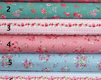 Beautiful Shabby Chic fabric with Rose/Daisy Print Pattern, per fat quarter/per half meter/per meter/per fat quarter bundle