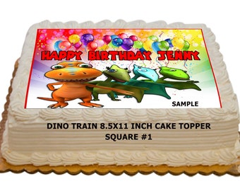 "Dino Train Personalized Edible Birthday Cake Topper for 8.5x11"" sheet cakes"