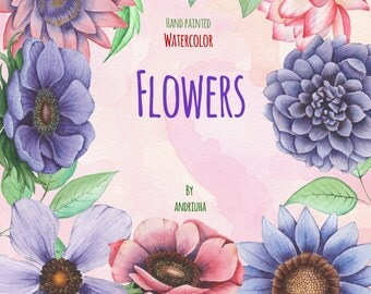 Watercolor Flowers, Handpainted, Digital Clip Art