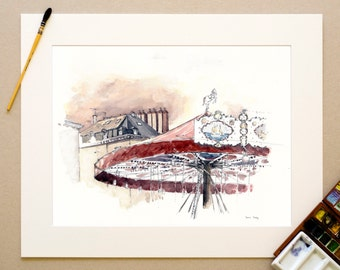 Watercolor Nantes - the carousel of the Christmas market - signed reproduction and appear