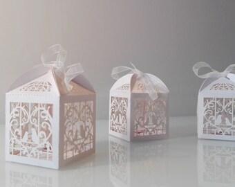 "Gift Box Pudełko na prezent Geschenkox ""Birdcage"" Ivory Kość słoniowa Ivory Bridesmaid Druhna Bridesmaid"