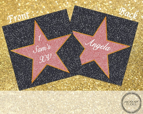 Double Sided Place Card Template | Hollywood Star Customizable Double Sided Place Card For Events