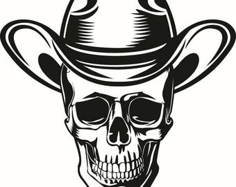 Cowboy Skull #3 Herder Country Western Rodeo Bull Horse Riding Ranch Old West Wrangler Logo .SVG .EPS .PNG Vector Cricut Cut Cutting File