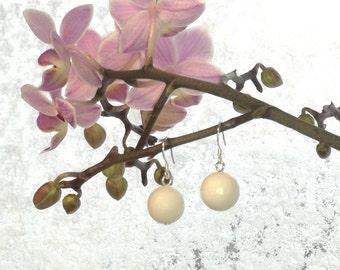 White Jade Earrings, White jade stone earings, Bridal earrings, White earings, Wedding Jewelry