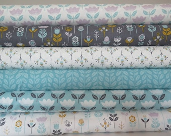 6 fat quarters from Camelot Josephine, white mod floral, rainwater retro, iron mod floral, white retro bloom, white sprig mineral leaves
