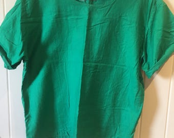 VINTAGE - emerald green oversized cotton blouse