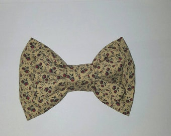 Sandy Rose Bow, Beige and Red  Hair Bow, Large Hair Bow, Statement Hair Bow, Clip In Hair Bow