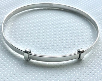 Sterling Silver Heavy Highly Polished and Adjustable Bangle