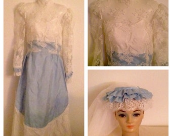 Vintage Blue Lace Wedding Gown and Veil