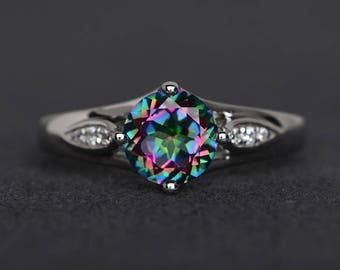 mystic topaz ring round cut engagement ring sterling silver ring rainbow topaz gemstone ring