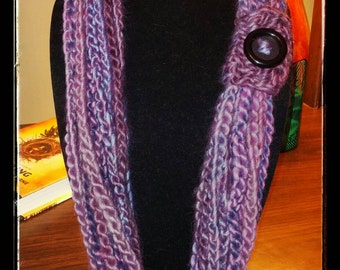 Purple Crochet Chain Necklace/Accessory Scarf with Button - Adult/Teen Size
