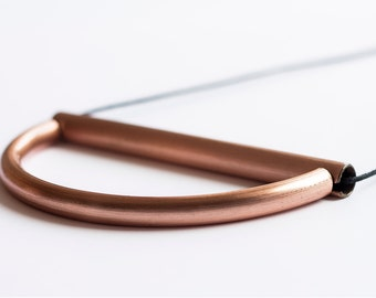 Bamboo ~ Copper necklace, minimal design, coated copper and cotton rope