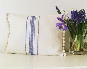 Grainsack linen fabric cushion with Pom Poms