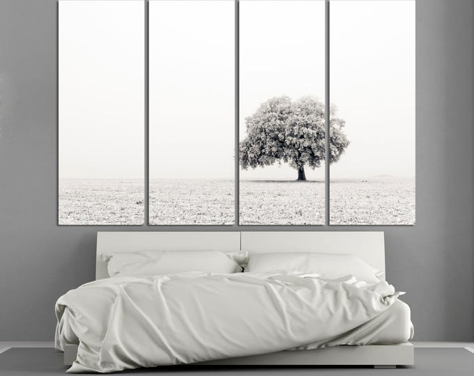 Large black and white tree on field fine art photography wall art print set on canvas, modern landscape nature photography canvas wall decor