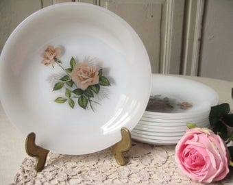 8 dishes hollow Arcopal opaline pattern pink roses / french Vintage / soup, Bowl plate / dish French retro chic /Shabby