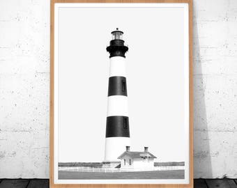 Lighthouse Photography, Digital Download, Nautical Art, Coastal Beach Decor, Beach Home Decor, Modern Minimalist, Large Printable Poster
