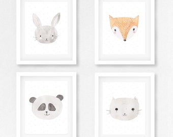 Set of 4 NURSERY printable WATERCOLOR ANIMALS - Instant download cards