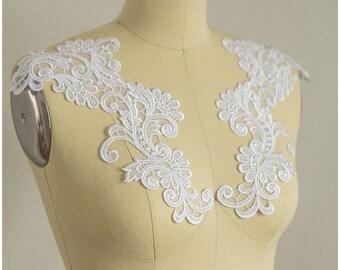 2pc. mirrored lace flower applique - WHITE - Lace flower, lace patch, bridal dress appliqué - CLA9490