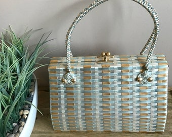 Vintage 1960s Woven Handbag // 60s Woven Plastic Straw Purse with Gold Clasp // Retro Metallic Woven Purse from the 1960s