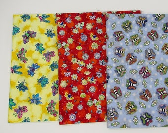 Bees cotton fabric bundle kid novelty bug prints, 3 pieces colorful bugs & bees quilting remnants insect prints, fabric stash, craft fabric