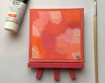 Original Art, Miniature Art, Mini Painting, Abstract Painting, Abstract Art, Orange & Pink Art, Original Painting