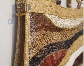ON SALE, Faux Leather Purse, Top Handle Purse, Shoulder Bag, Multicolored leather, faux Snake skin, Beige Leather Purse, Vintage Purse