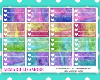 Watercolor Heart Checklist Half Boxes {16 Fabulous Matte or Glossy Planner Stickers} | #16-164