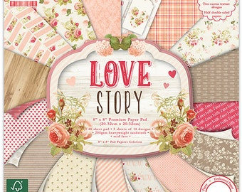 First Edition Paper Pad - Love Story - 8x8 patterned papers - Valentine's Day, weddings, engagements, anniversaries, birthdays - FEPAD114