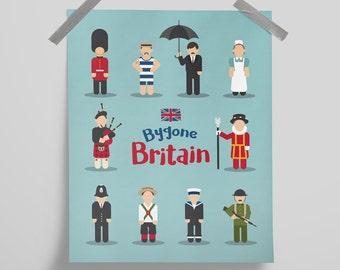 Nostalgic Britain, British, UK, Bathroom or Kitchen  Poster Digital Wall Hanging Art Print Home Décor
