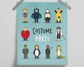Fancy Dress, Costume Party. Poster Print Wall Art Home Décor. Cowboy, Robot, Ninja, Pirate, Halloween