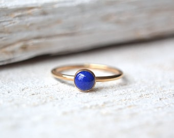 Gold Lapis Lazuli Ring. Lapis Ring, Lapis Lazuli Ring, Stacking Ring, Stackable Ring, Blue Ring, Small Lapis Lazuli Ring, Gold Lapis Ring