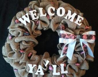 Pink Camo Burlap Wreath