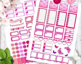 Printable Planner Stickers, Weekly Planner Stickers, pink buterfly Stickers, Happy planner stickers, ECLP