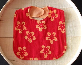 Red Orange Indian Batik Print Infant Bib