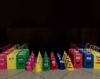 Sesame Street Birthday Party Hats or bags (12) | Elmo, Cookie Monster, Bert, Oscar The Grouch, Big Bird, Abby | Sesame Street Birthday | Fav